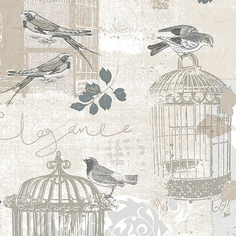Birds and Birdcages in Beige and Grey - KE29946