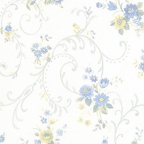 Floral Vine in Blue and Tan - PP27810
