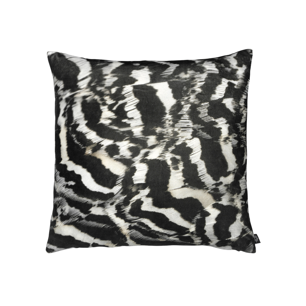 Printed Feather B/W Pattern Decorative Pillow