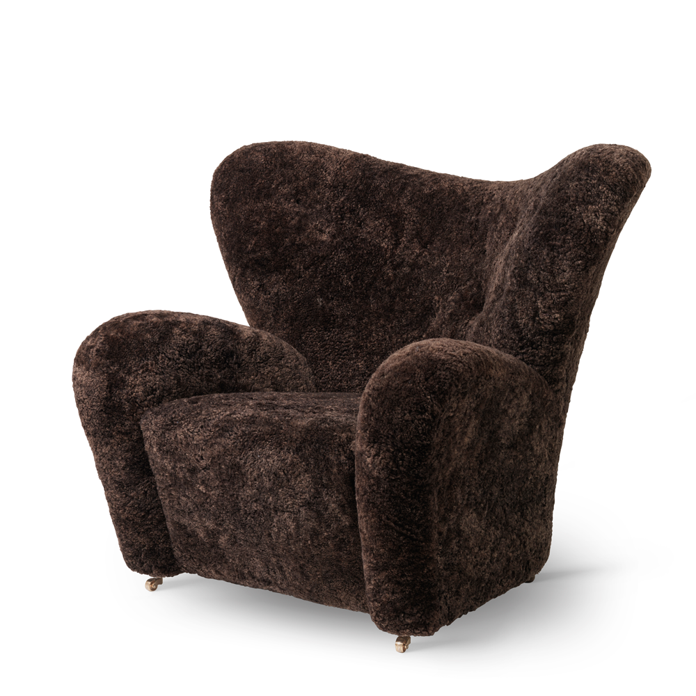Tired Man Overstuffed Chair, Sheepskin/NEW ESPRESSO COLOR