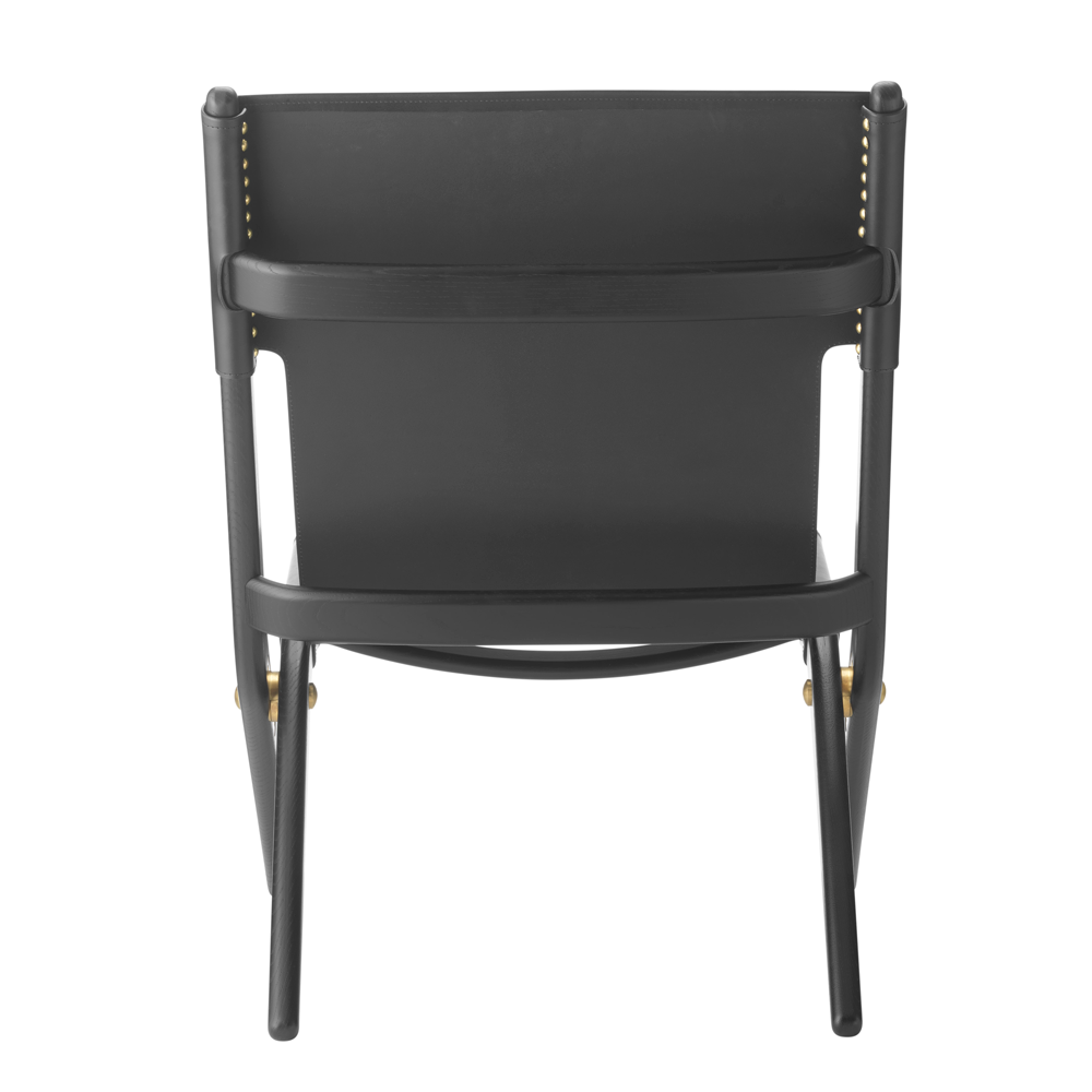Saxe Leather Lounge Chair, Black Oak/Black/FREE SHIPPING