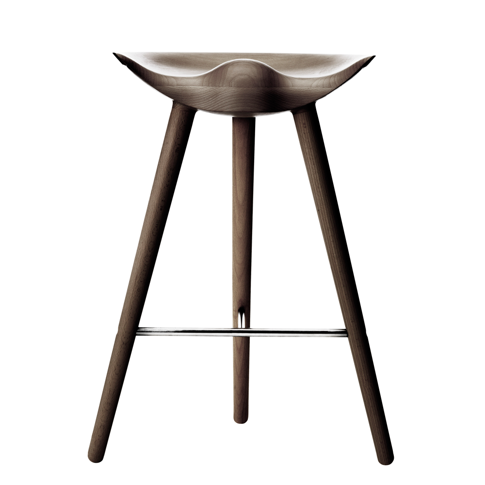 ML42 Counter Stool in Brown Oiled Oak with Steel, Brass or Copper Footrest