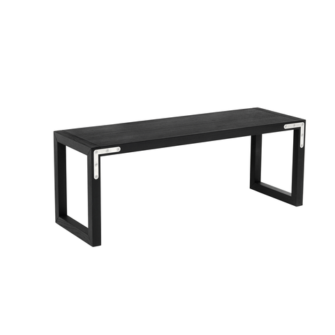 Conekt Bench with Metal Brackets, Black Stained Ash