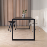 Conekt Dining Table with Metal Brackets, Black Stained Oak