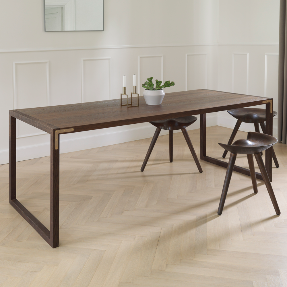 Conekt Dining Table with Metal Brackets, Smoked Oak