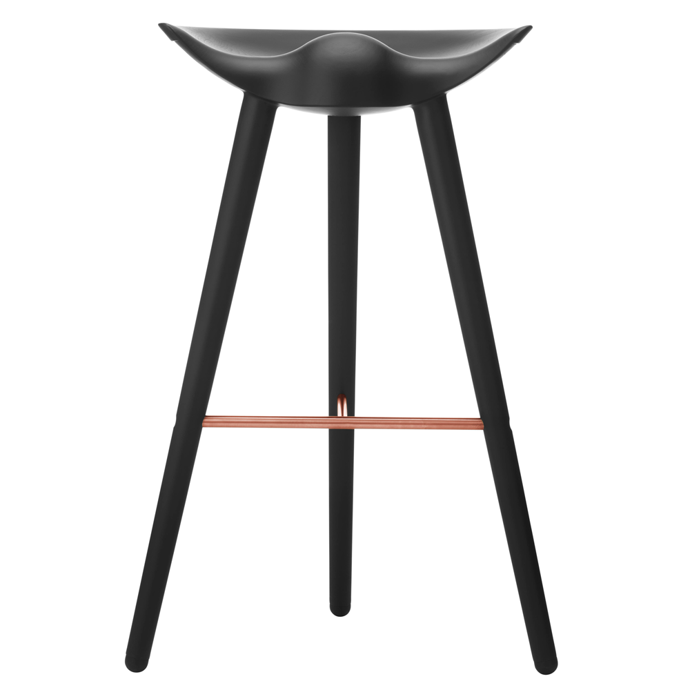 ML42 Bar Stool in Black with Steel, Brass or Copper Footrest