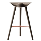 ML42 Bar Stool in Brown Oiled Oak with Steel, Brass or Copper Footrest