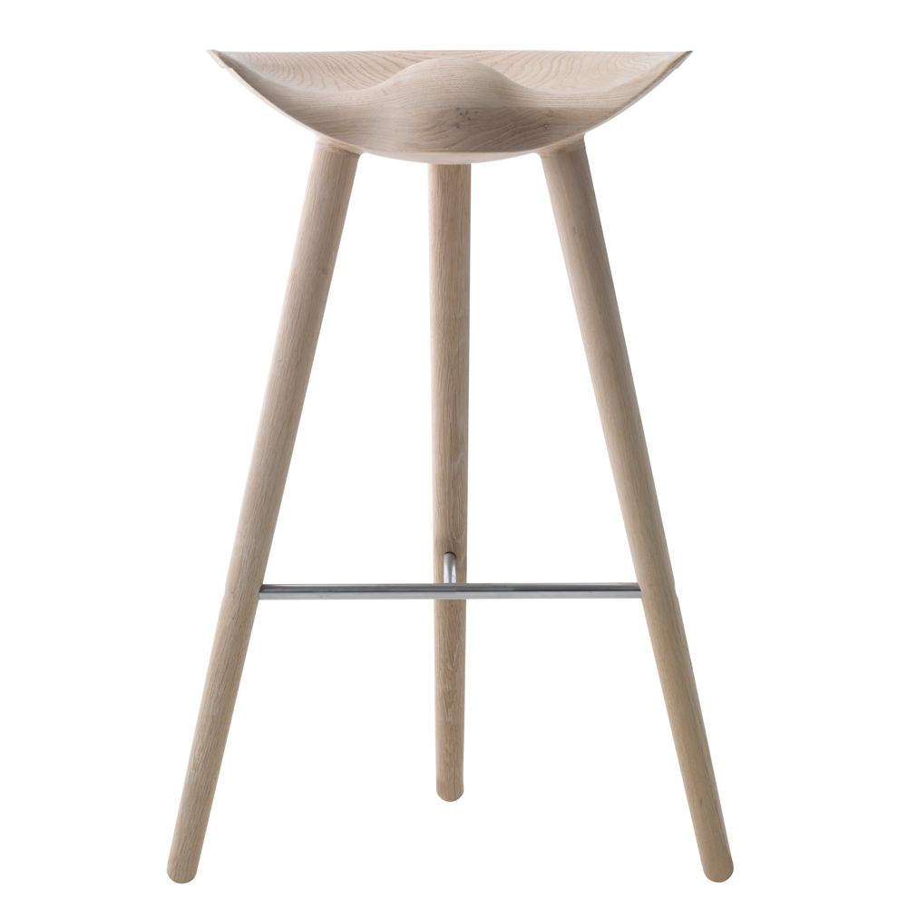 ML42 Bar Stool in Oak with Steel, Brass or Copper Footrest
