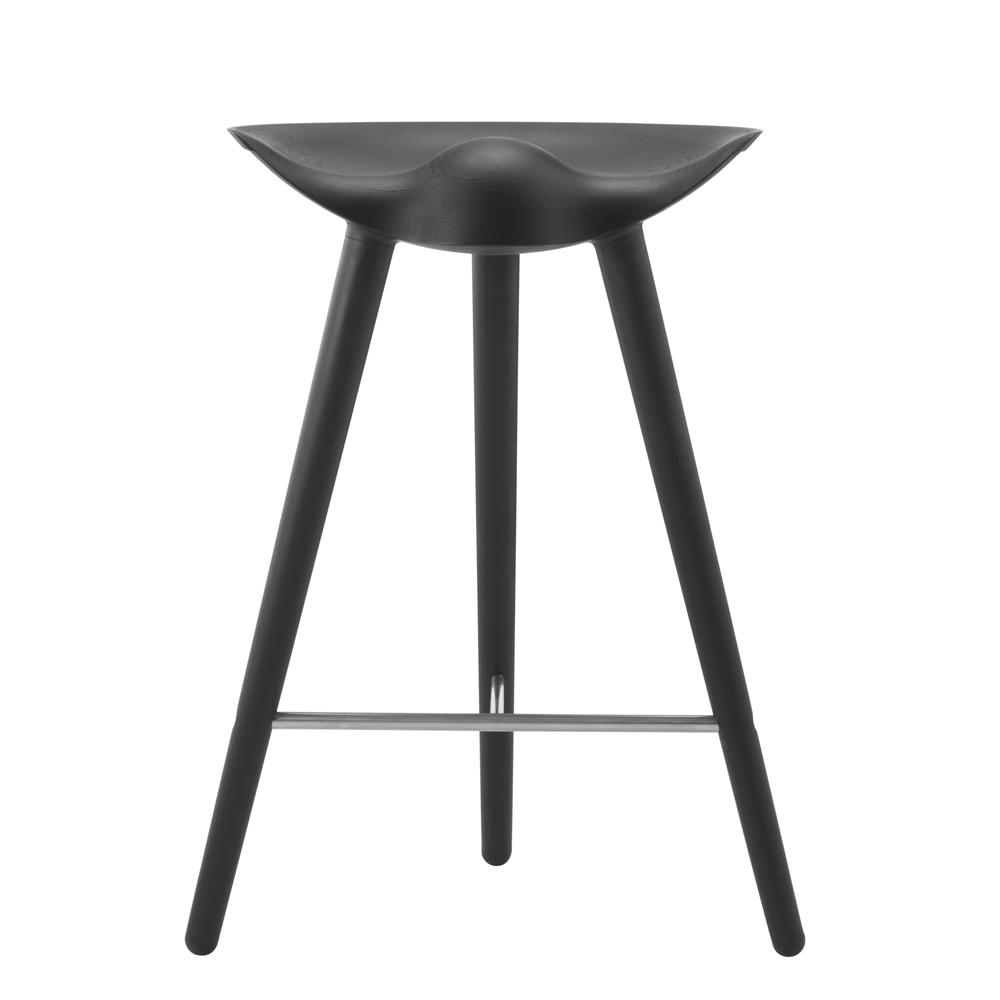 ML42 Counter Stool in Black with Steel, Brass or Copper Footrest