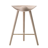 ML42 Counter Stool in Oak with Steel, Brass or Copper Footrest