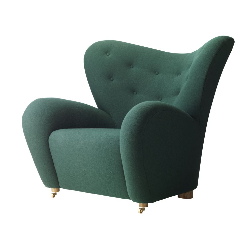 Exceptionnel Tired Man Overstuffed Chair, Dark Green Fabric ...