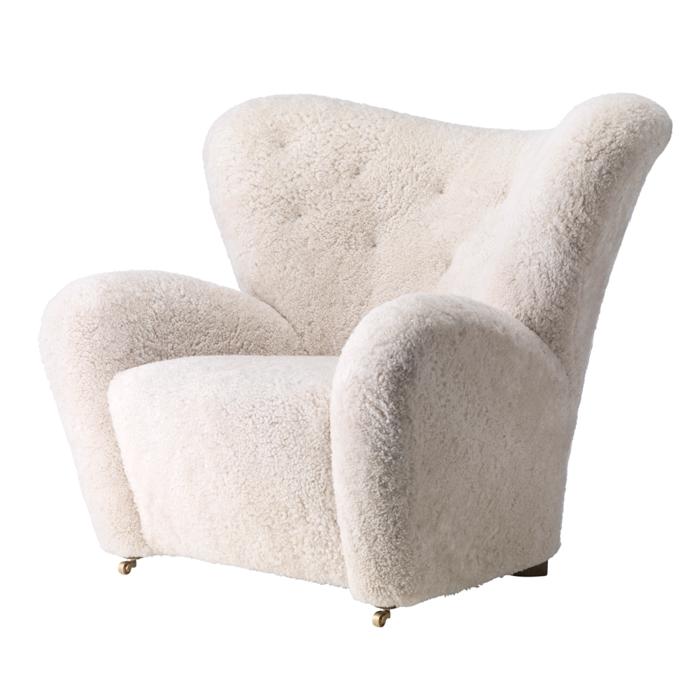 Tired Man Overstuffed Chair, Sheepskin