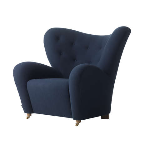 Tired Man Overstuffed Chair, Dark Blue Fabric