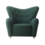 Tired Man Overstuffed Chair, Dark Green Fabric