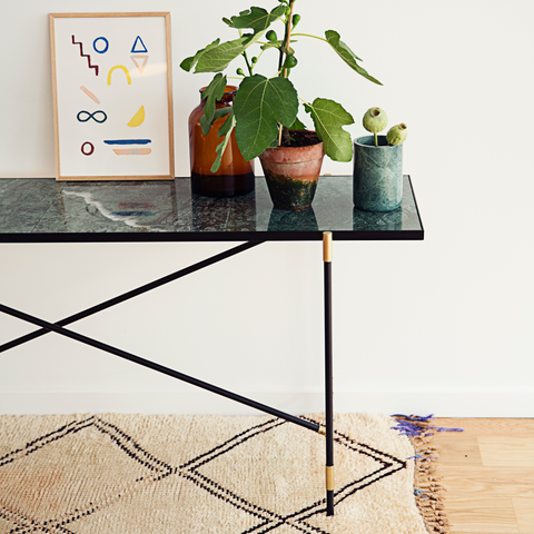 Console, Green Marble & Brass/FREE SHIPPING