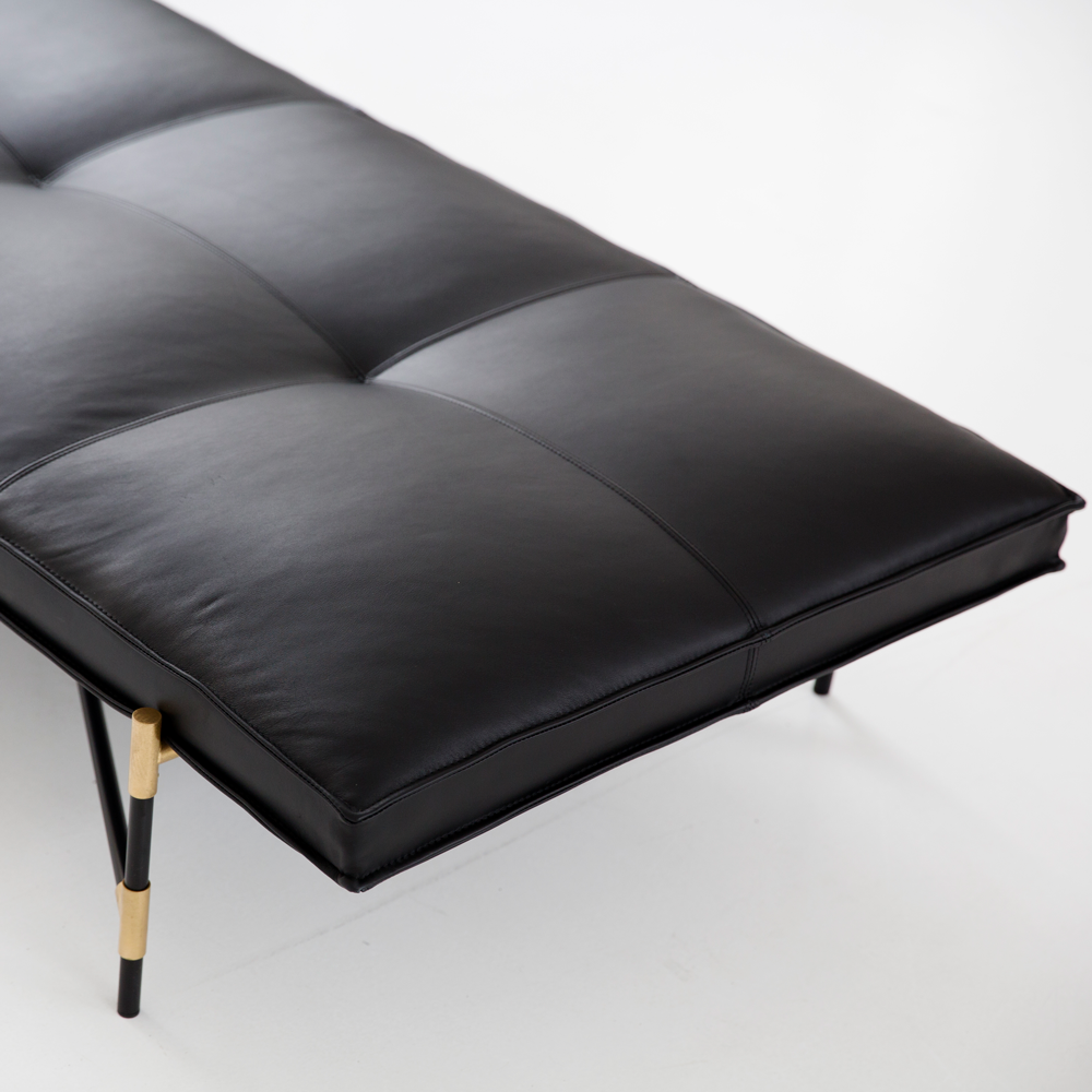 Sample Daybed Black Brass Black Leather Pick Up Or