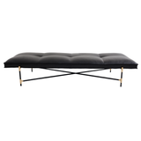 Sample Daybed Black/Brass/Black Leather/PICK-UP OR DELIVERY TO NY, CT ONLY