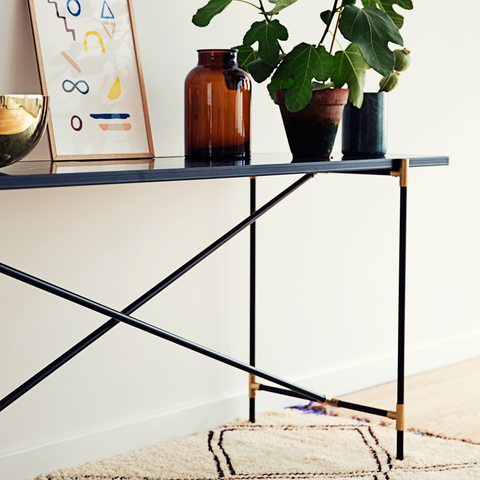 Console, Black Marble & Brass/FREE SHIPPING