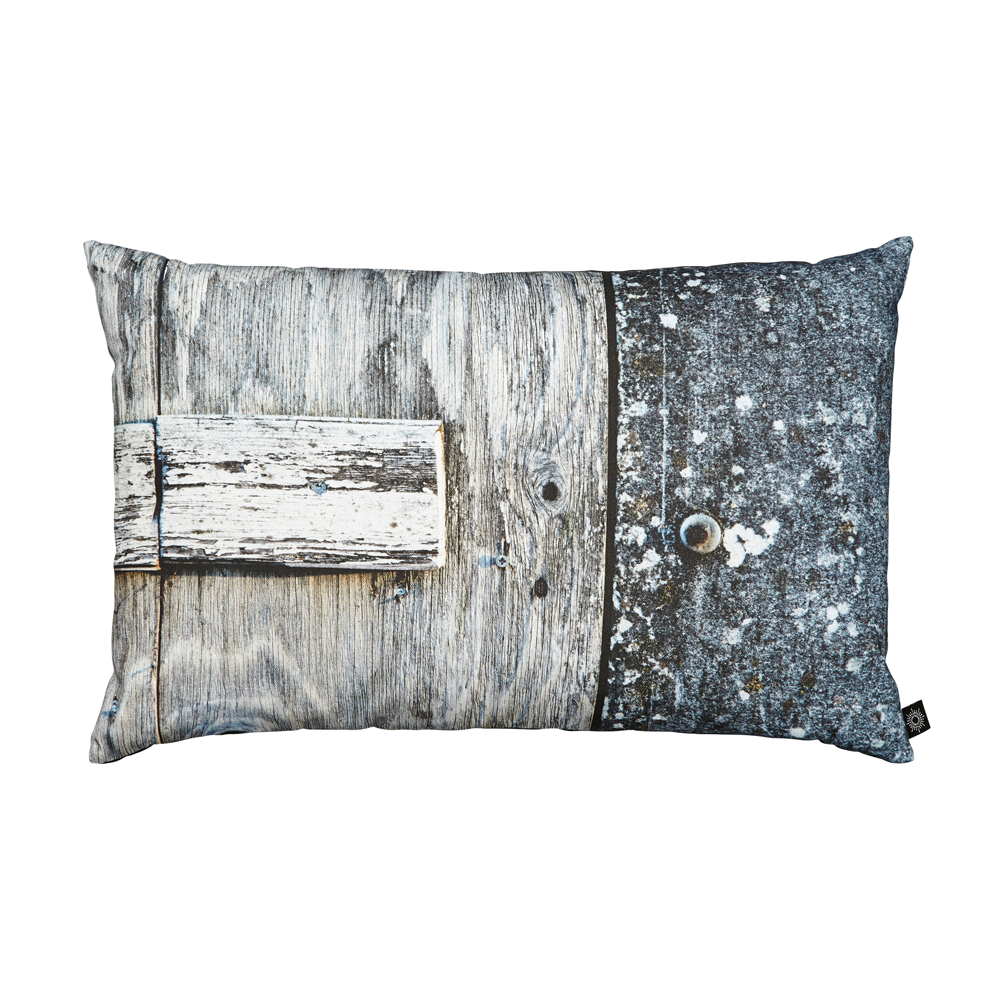 Grey/Blue Door Decorative Pillow