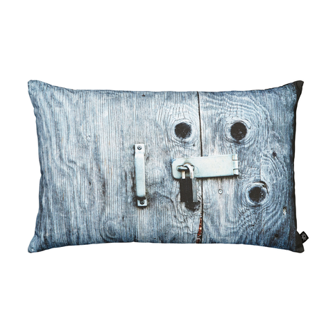 Blue Door with Padlock Decorative Pillow