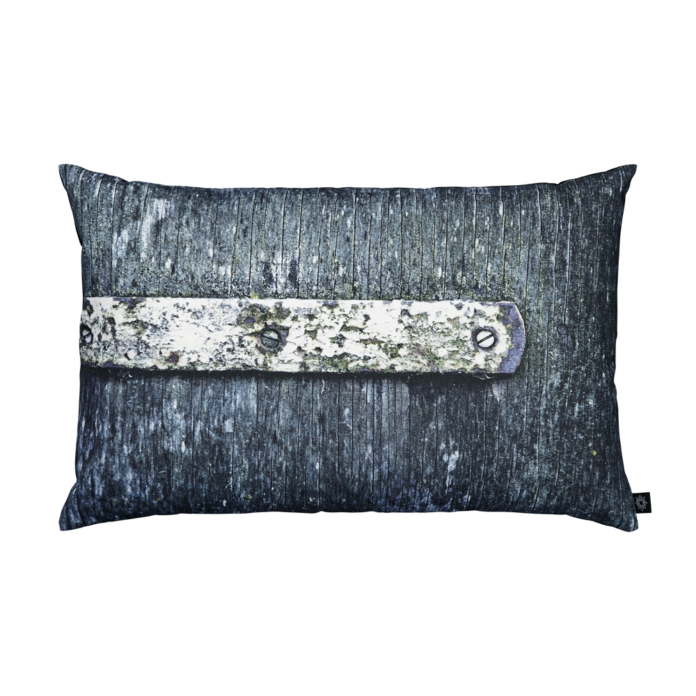 Green/Blue Door with Hinge Decorative Pillow