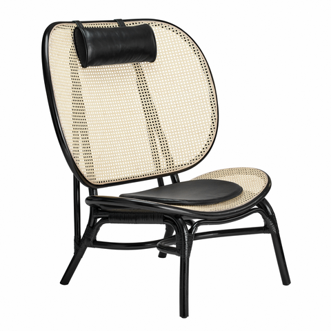 Nomad Chair, Black/Natural Rattan