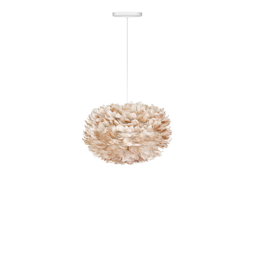 "EOS Goose Feather Pendant Light Brown, 18"" W x 12"" H"