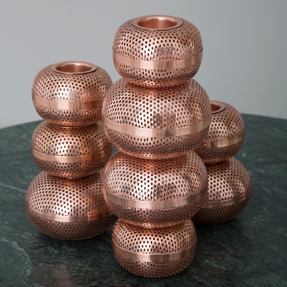 Helge Candle Holder, Copper