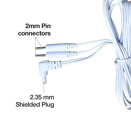 Easy@Home Replacement TENS lead wires, for EHE010/012pro,2.35mm shielded plug to Two 2mm Pin Connectors,2pc/pack #EHE010-012(W)