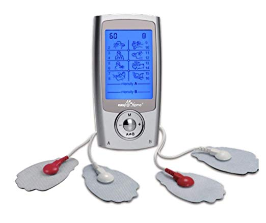 Rechargeable TENS Unit + EMS Muscle Stimulator, Dual Independent Channels With 20 Intensity Levels, 8 EMS or TENS Massage Types + 16-Mode, Handheld Electronic Pulse Massager, EHE029G