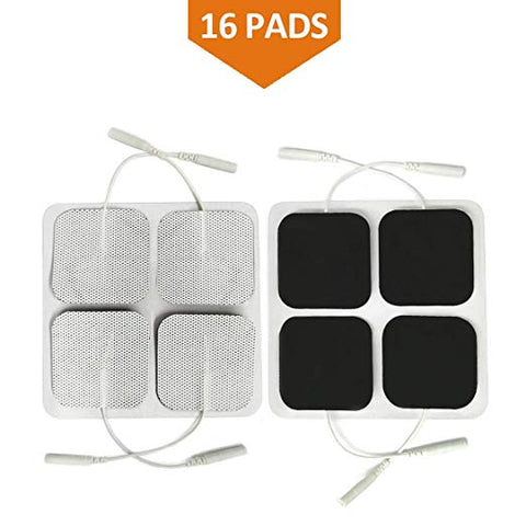 "Easy@home 2"" x 2"" Reusable TENS & EMS Carbon Electrode Pads-16 Pack EHE009,010,012 PADS"