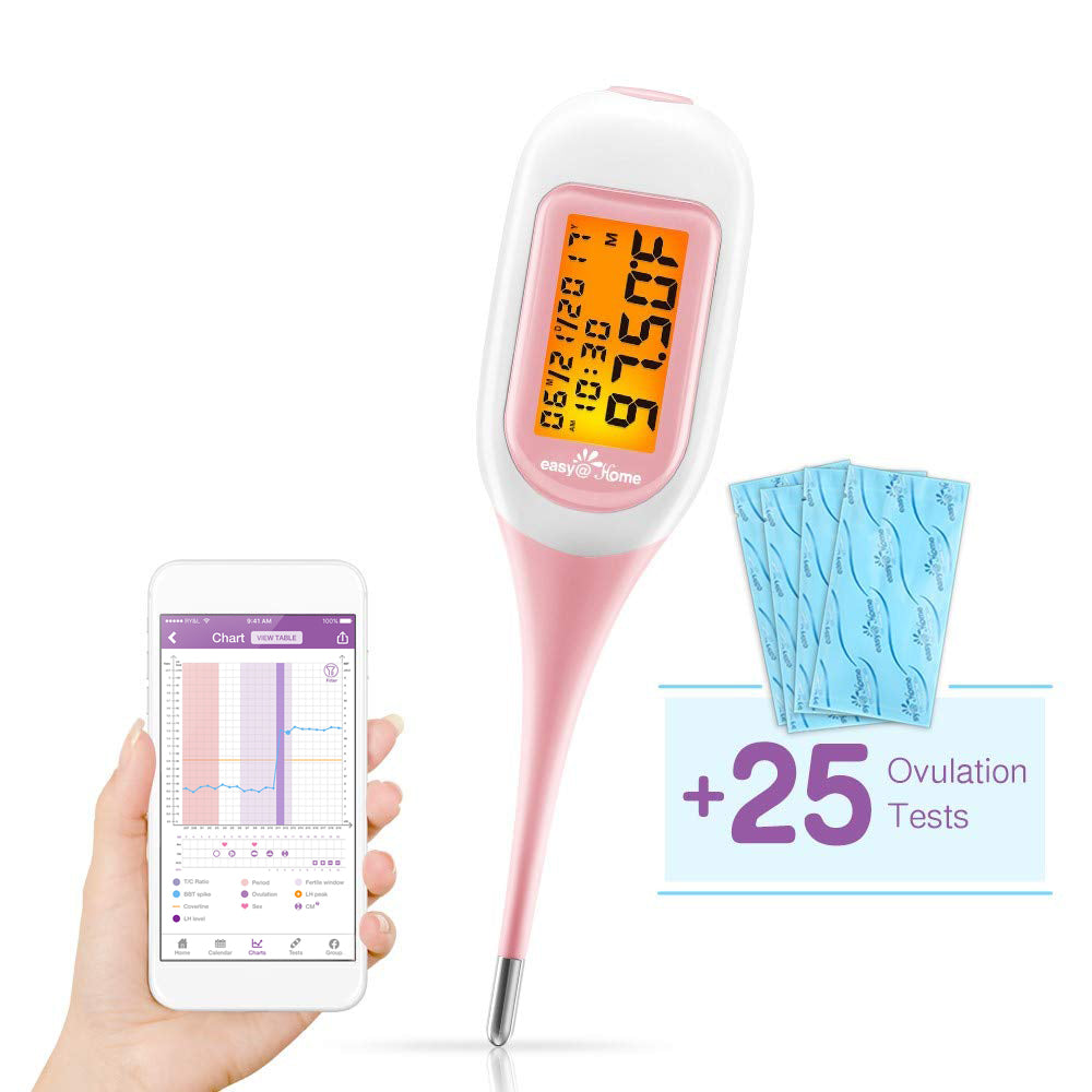 Smart Basal Thermometer EBT-300 with Bonus 25 LH Ovulation Test Strips Powered by PREMOM App