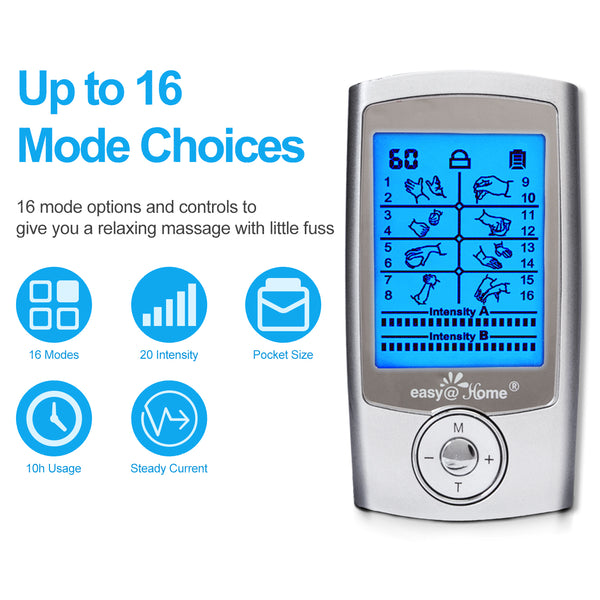 Easy@Home Rechargeable TENS Unit Muscle Stimulator, Electric Pain relief Pulse Massager with 16 EMS or TENS Massage Modes and 20 Intensity Levels - EHE029N …