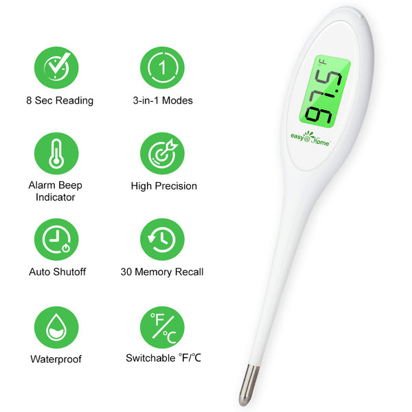 8 Sec Fast Reading Easy@Home Digital Oral Thermometer for Adult, Kid and Baby, Oral, Rectal and Underarm Temperature Measurement for Fever with Two-Color LCD Display Backlit and Alarm EMT-A12