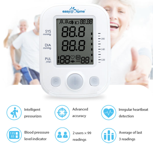 Easy@Home Digital Blood Pressure Monitor Upper Arm with Pulse Rate Indicator, Accurate Automatic BP Machine with Large Cuff,2 User Individual Memory, FDA Cleared, EBP-020