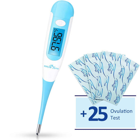Easy@Home Digital Basal Thermometer with Bonus 25 Ovulation Test Strips, 1/100th Degree High Precision and 30 Records, Perfect for Ovulation Tracking and Natural Family Planning, New EBT-100B + LH 25