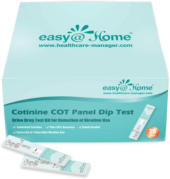 Easy@Home Nicotine Cotinine Urine Panel Dip Test Strips Kit- Sensitive Rapid Detection for Cotonine from Vaping Tobacco Cigarette Smoking Devices 200 ng/mL #ECOT-114