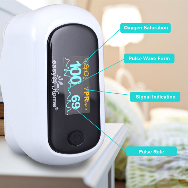 Easy@Home Fingertip Pulse Oximeter SpO2 Blood Oxygen Saturation Meter and Heart Rate Monitor, Rotatable OLED Display with Batteries Included, Portable Lanyard and Carrying Package-EHP035