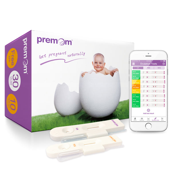 Premom Ovulation Test kit-30 LH Ovulation Cassettes and 10 HCG Pregnancy Cassettes Kit, Professional-Class Reliability, FDA Approved, 30 LH + 10 HCG