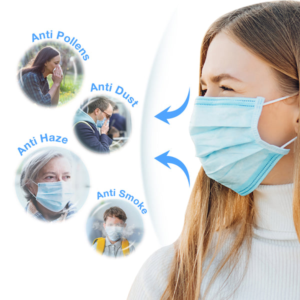 Face Masks 50 Ct– Disposable Safety Protection with Ear Loops for Home Use, Breathable & Comfortable 3-Ply Filter