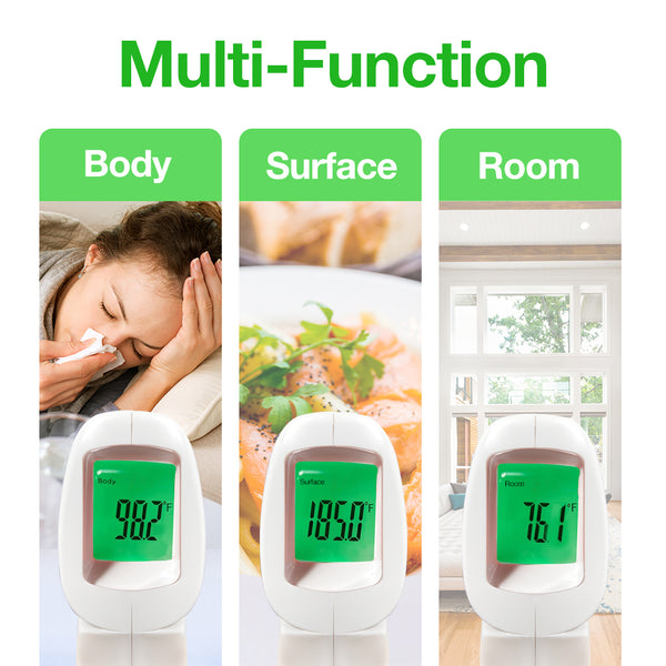 Easy@Home 3 in 1 Non-Contact Forehead Thermometer (US Stock), Infrared Digital Thermometer to Measure Body Temperature Co-Branding Package #178E