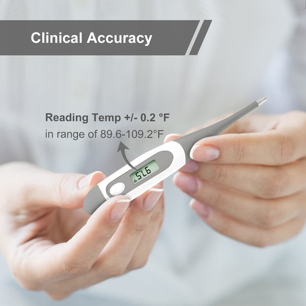 Digital Oral Thermometer for Kid, Baby, and Adult, Rectal and Underarm Body Temperature Measurement for Fever with Alarm EMT-021-Grey