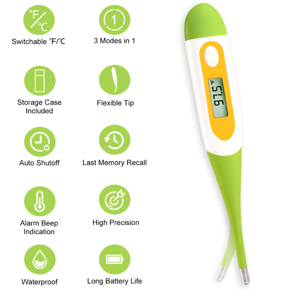 Digital Oral Thermometer for Babies, Kids, and Adults, Oral, Rectal and Underarm Temperature Measurement for Fever with Alarm EMT-021-Green
