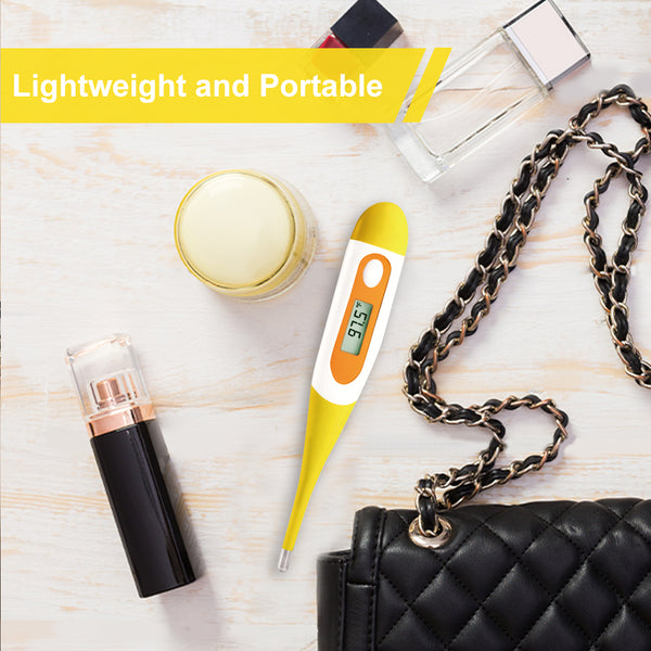 Digital Oral Thermometer for Kid, Baby, and Adult, Rectal and Underarm Temperature Measurement for Fever with Alarm EMT-021-Yellow
