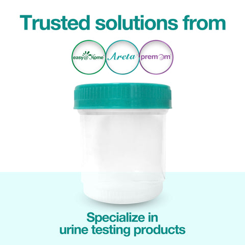 Easy@Home Quality Sterile Urine Specimen Collection Cups with Lids- Large 90mL (3oz)