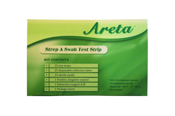 Health Management - Areta Strep-A Test Kit For Strep Throat (25 Strips Per Box)