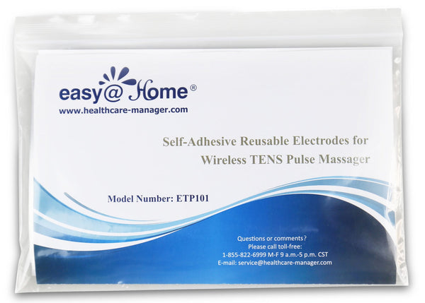 Health Management - Easy@home 10 Re-useable Wireless TENS & EMS Self-Adhesive Electrode Pads, FDA Approved Fro Over The Counter(OTC) Use