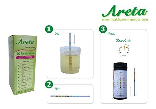 Health Management - Easy@Home Areta 10 Parameter (10SG) Urinalysis Reagent Test Strips 50 Strips