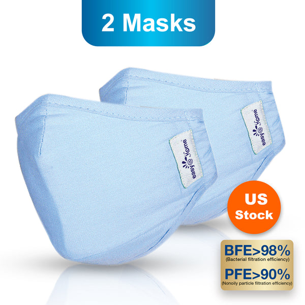 Premium Reusable Face Mask, Respirator Protective Mask, Safety Protection with Ear Loops for Home Use, Washable Mask, Large, Sky Blue (2 masks)