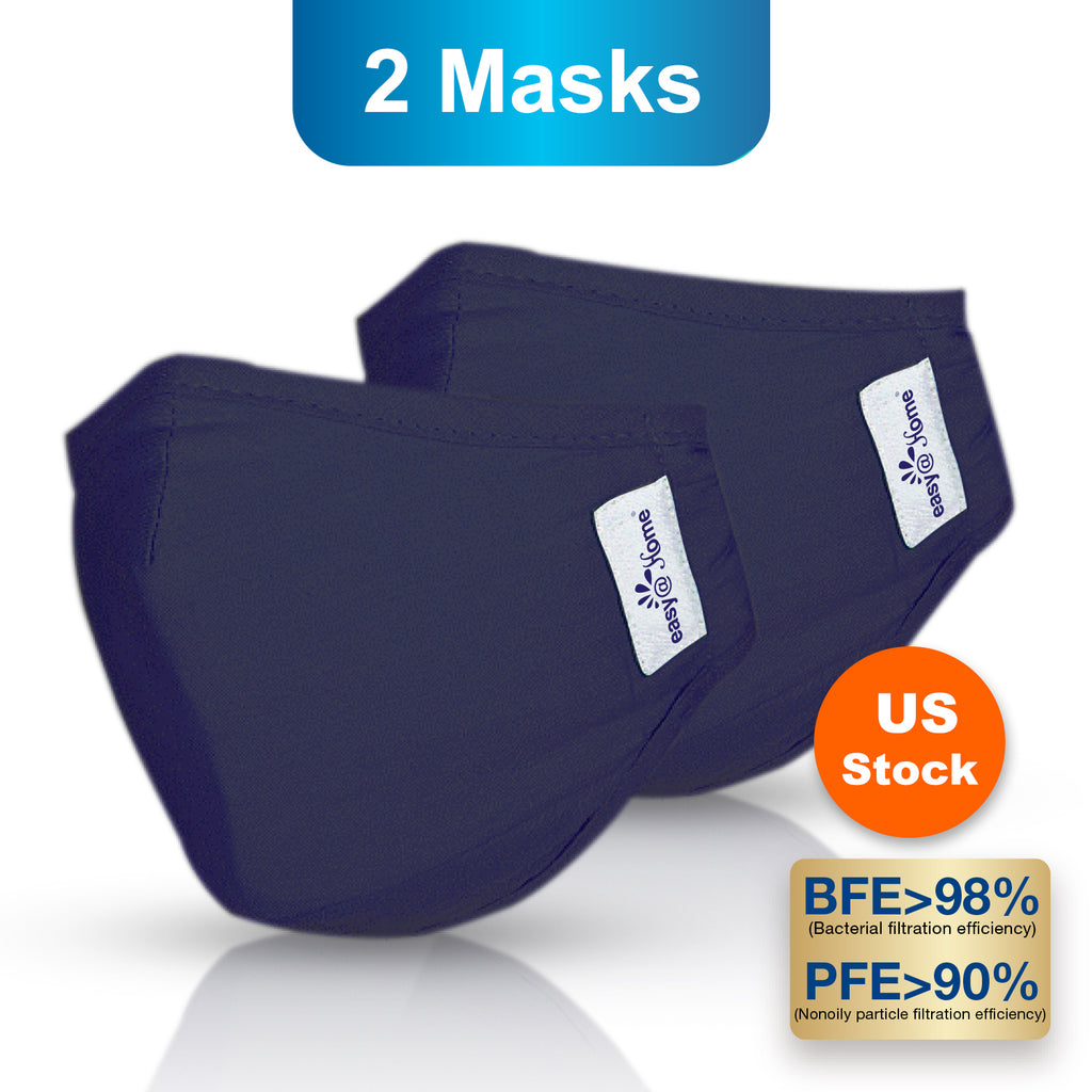 Premium Reusable Face Mask, Respirator Protective Mask, Safety Protection with Ear Loops for Home Use, Washable Mask, Medium, Navy Blue (2 masks)